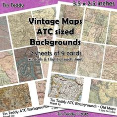 Items similar to Vintage Map Digital Collage Sheet - great for ATC backgrounds, map tags, map ATCs on Etsy Collage Sheet, The Dark One, Great Backgrounds, A4 Paper, Old Maps, Vintage Maps, Artist Trading Cards, Digital Collage, Atc