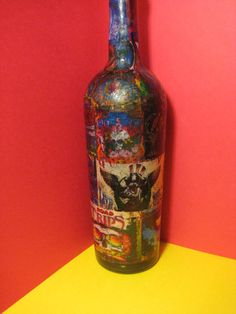 GRATEFUL DEAD Psychedelic Decoupage on Glass by CelebrityBottleCo, $60.00