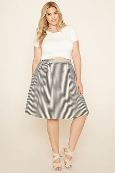 27198aaf45924 Forever 21 - Black Plus Size Stripe Pleated Skirt - Lyst