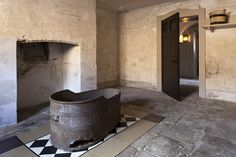 Original 18th Century bath thought to have belonged to George III in the Royal Kitchens at Kew Palace