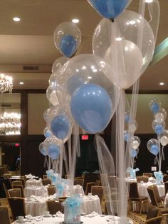 Baby Shower balloons tied down with tulle www.idealpartydecorators.com