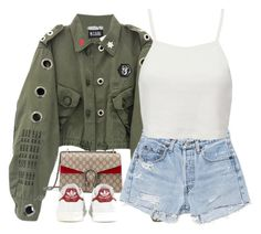 Sometimes life gives you lemons and all you can do is pucker up. by oh-aurora on Polyvore featuring polyvore fashion style Pull&Bear RE/DONE adidas Gucci clothing