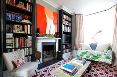 Eclectic, vibrant yet relaxing sitting room.  It looks sooo comfy