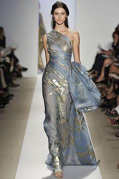 Gold foiling on cornflower blue silk. Fashion Week Spring 2009: Reem Acra
