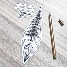 Dotwork geometric cedar tree tattoo design, made for Alec #geometric_tree_tattoo