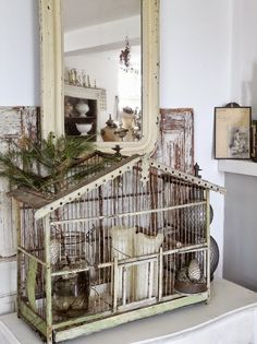 shabby chic bird cage .Wow I love this
