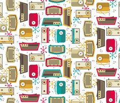 Plastic Fantastic in a Retro Kitchen! fabric by inscribed_here on Spoonflower - custom fabric
