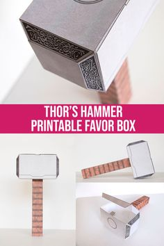 Avengers Birthday, Superhero Birthday Party, Valentine Day Boxes, Valentines, Archery Party, Printable Box, Batman Party, Thors Hammer, Favor Boxes