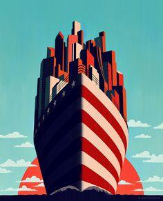 Joey Guidone - A New Horizon. Magazine cover. Illustration, poster, digital art, cityscape, ship, sailing, sunrise, ocean, america, american flag.