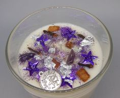 Pisces Zodiac Jar Candle, hour burn time, Rock salt and driftwood scent, decorated with a Pisces charm, purple glitter and a mix of toppings. Vegan Candles, Tin Candles, Soy Wax Candles, Candle Jars, Scented Wax, Scented Candles, Zodiac Candles, Mallow Flower, Crystal Shapes
