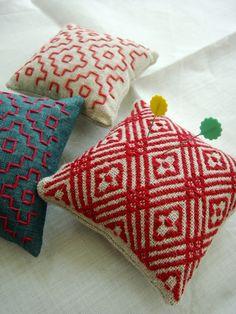 handwoven pin cushions