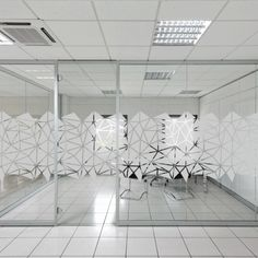 Triangles window design for frosted window film to add privacy to the office glass partitions Glass Sticker Design, Glass Film Design, Frosted Glass Design, Frosted Glass Window, Glass Partition Designs, Glass Office Partitions, Office Interior Design, Office Interiors, Office Walls