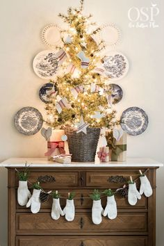 Easy Christmas Decorating Ideas   Festive, Fun & Fast   DIY inspiration for decorating your home for the holidays on a budget. Grain sack garland, DIY mitten banner, table top Christmas tree.
