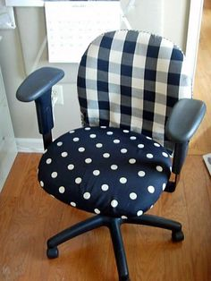 Got an ugly computer chair? Make it better! DIY computer chair cover. I know what I'm doing this weekend!