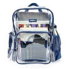 Most Durable Clear Backpacks In The Industry - Guaranteed. Perfect for School or Work. Buy our Stylish, Durable, Clear Backpacks and Clear Bags. Voted in plastic backpacks. Shown in American Blue. Clear Backpacks, Trendy Backpacks, Back To School Bags, Back To School Backpacks, School Emergency Kit, Mini Backpack Purse, Transparent Bag, Backpack Reviews
