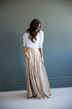 Bree Lena Full Sequin Maxi Skirt - Champagne Gold