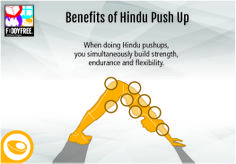 Benefits of Hindu Push Up: When doing Hindu pushups, you simultaneously build strength, endurance and flexibility.