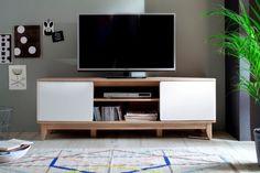Meuble TV 2 portes Monale<br>Blanc et naturel
