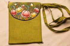 Dress Painting, Fabric Painting, Fabric Art, Madhubani Art, Madhubani Painting, Painted Bags, Hand Painted, Teracotta Jewellery, Kerala Mural Painting