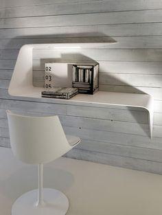Bureau Mamba / étagère à éclairage Led - Angle droite - L 135 x H 93 cm