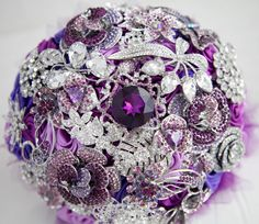 Brooch bouquet. Lilac, purple, pink and silver wedding brooch bouquet, Jeweled Bouquet. Ready to ship. Winter wedding bouqet.. $299.00, via Etsy.