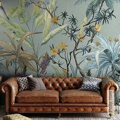 60 Best Ideas Of Tropical Wall Mural For Summer. Popular tropical wall murals create the illusion of paradise in your home. They can bring sunshine and warmth into a room with no windows or help stave. New Year Wallpaper, Modern Wallpaper, Flower Wallpaper, Wall Wallpaper, Designer Wallpaper, Wallpaper Jungle, Decorative Wall Panels, Space Interiors, Interior Decorating