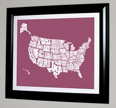 USA Word Map  A typographic word map of the United by inkofme, $15.00