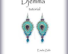 Djemma Beading tutorial.Beaded pattern earrings. ! PDF file containing instructions .