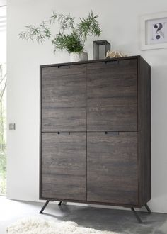 Modern retro style storage cabinet with 4 doors in wenge wood effect finish