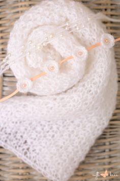 SET Knit Newborn White Color Wrap and 2 Handmade Knit Angora Circles & Pearls Tieback on Peach Ribbon / Headband / Newborn Photography Props by SoftButterflyKiss on Etsy