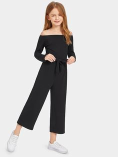 Shop Girls Off Shoulder Self Belted Rib Knit Jumpsuit online. SHEIN offers Girls Off Shoulder Self Belted Rib Knit Jumpsuit & more to fit your fashionable needs. Teenage Girl Outfits, Girls Fashion Clothes, Kids Outfits Girls, Cute Girl Outfits, Tween Fashion, Cute Outfits For Kids, Teen Fashion Outfits, Cute Casual Outfits, Girl Fashion