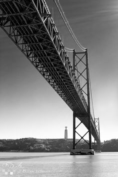 Lisbon of april bridge in black and white Lisbon Black & White © Philippe LEJEANVRE. George Washington Bridge, Ponte Salazar, Homeland, Old Things, Europe, San, Black And White, Photos, Country