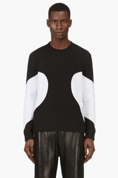 NEIL BARRETT Black & White Colorblocked Crewneck Top