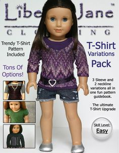 Liberty Jane TShirt Variations Doll Clothes Pattern by LibertyJane, $3.99