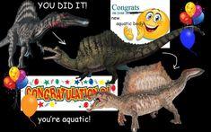 """plasmagika: """"heard about the spinosaurus news today! Spinosaurus, Mobile Legends, Tumblr, Dinosaur Stuffed Animal, Jokes, Illustration, Puns, Animals, Typography"""