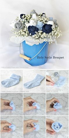 Basic Tutorial of DIY Baby Sock Bouquets, so easy to follow you can buy all the necessary things easily and make your own.