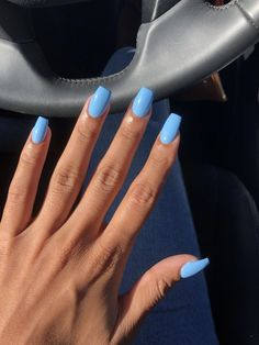 Long nails or short nails? Long nails or short nails? 😍 ( Long nails or short nails? Nails Yellow, Blue Acrylic Nails, Summer Acrylic Nails, Spring Nails, Blue Gel Nails, Blue Coffin Nails, Acrylic Nails Light Blue, Acrylic Nails Coffin Short, Nail Art Blue