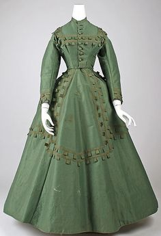 "1864-65, American, Met Museum. ""Cotton, wool, silk"" - peculiar labelling, since the dress is clearly not primarily cotton."
