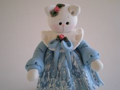 Polymer Clay White Cat in Blue Patterned Dress by HelensClayArt, $13.95