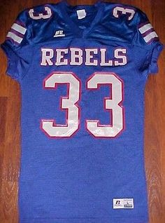 9208b98fd7ac Russell Athletic NCAA SEC Ole Miss Rebels 33 White Blue Red Football Jersey  L