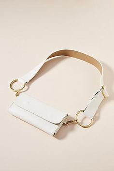 Fun white belt bag from Anthopologie! White Belt, Bracelets, Gold, Shopping, Jewelry, Belt Bags, Sacks, Bangles, Jewlery