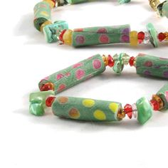 Bead Necklace Fiber Necklace Gift for Her Textile Necklace Fabric Necklace Polka Dots Jewelry Spring Necklace Summer Necklace Mint Green