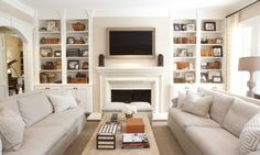 LC Singleton Interiors. Great arrangement for a smallish, narrow living room.