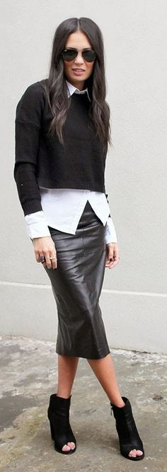 how to wear a leather skirt : boots + crop sweater + white shirt