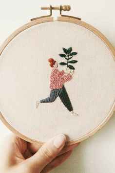 Hand embroidery // contemporary embroidery A woman working under the name Slow Evenings Embroidery celebrates plant parents with her hoop art. The characters are excited about their new babies. Embroidery Materials, Embroidery Stitches Tutorial, Hand Embroidery Stitches, Embroidery Hoop Art, Hand Embroidery Designs, Cross Stitch Embroidery, Embroidery Ideas, Hand Stitching, Embroidery Techniques