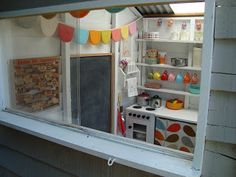 mousehouse: A mousehouse playhouse Great ideas for cubby house interior... love the bunting and old telephone