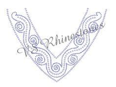 Swirls Neckline Rhinestone Transfer