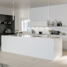 In this monochrome kitchen, the focus is on modern minimalism and perfectly styled displays. organised worktops, handleless cupboards and the open-plan Modern Kitchen Design, Interior Design Kitchen, Home Decor Kitchen, Kitchen Furniture, Kitchen Ideas, Interior Design Living Room, Interior Decorating, Cool Kitchens, Open Plan