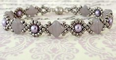 Cindy Bracelet - Lavender Swirl- Features Silky Beads - Linda's Crafty Inspirations