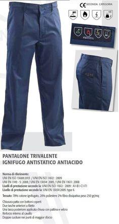 Pantalone trivalente Multinorma Antiacido Ignifugo Antistatico Certificato CE